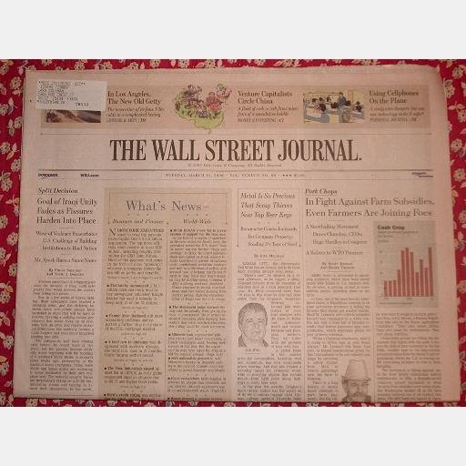 THE WALL STREET JOURNAL Tuesday March 14 2006 news newspaper single issue Scrap Thieves Los Angeles