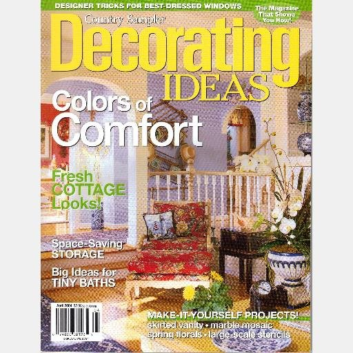 Country Sampler DECORATING IDEAS APRIL 2004 Magazine COTTAGE LOOKS STYLE skirted vanity TINY BATHS