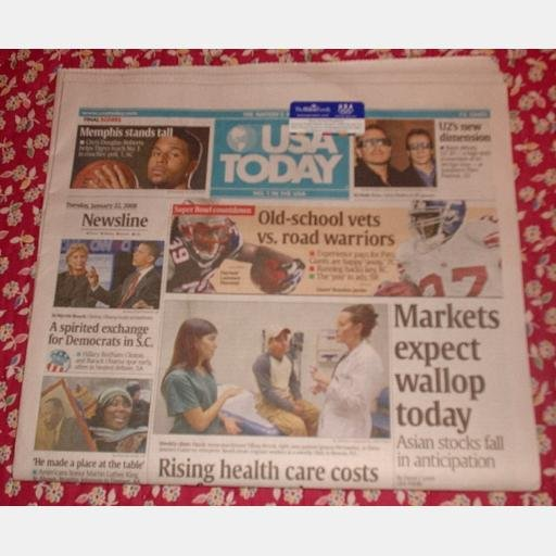 USA TODAY January 22 2008 Newspaper U2 WALL STREET Chris Douglas-Roberts