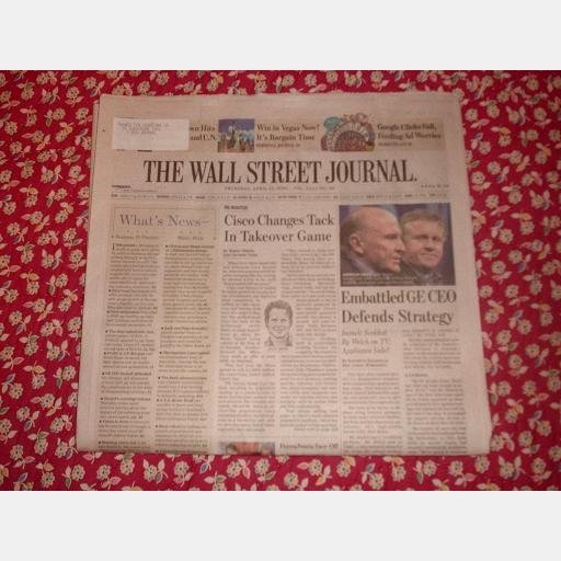 THE WALL STREET JOURNAL Thursday April 17 2008 CISCO GE Jeffrey Immelt Google Clicks Fall