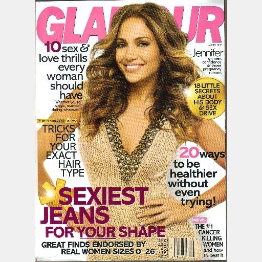 GLAMOUR August 2007 JENNIFER LOPEZ J LO Cover Magazine