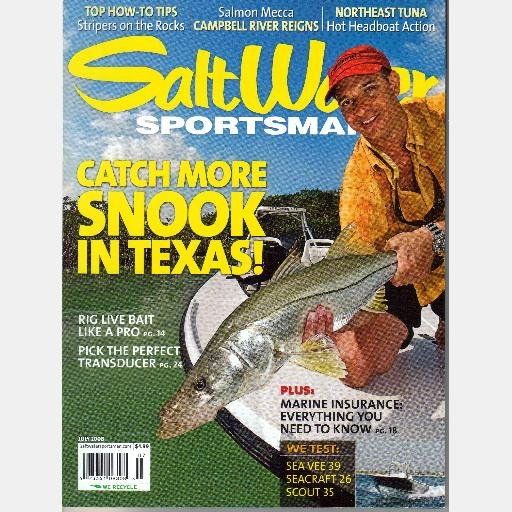 SALT WATER SPORTSMAN July 2008 Magazine Saltwater SNOOK Campbell River BC See Vee 39 Seacraft 26