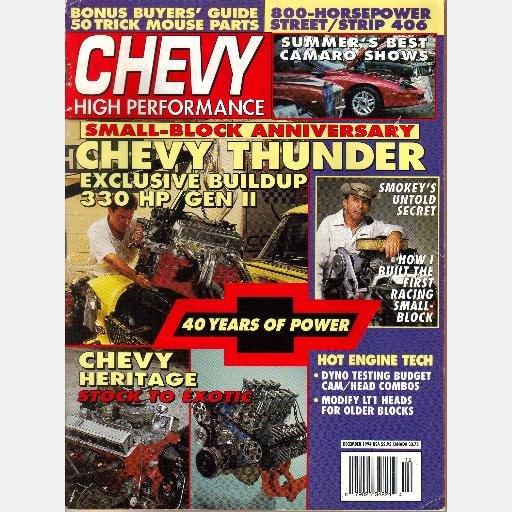 Chevy High Performance December 1994 Magazine 330 HP Gen 11 800 HP 406 Modify LT1 Heads