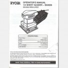 RYOBI OWNERS Operator MANUAL Guide S605D8 1/4 sheet sander 972000870