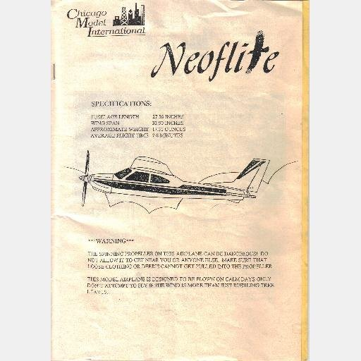 NEOFLITE MODEL RADIO AIRPLANE Manual Guide Specifications Parts list CHICAGO MODEL INTERNATIONAL