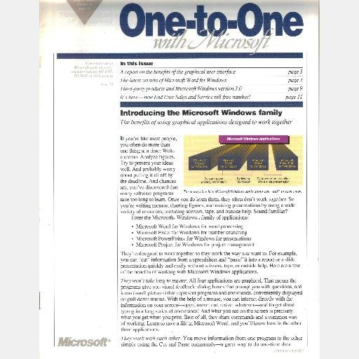 ONE TO ONE WITH MICROSOFT Magazine Newsletter 1990 Issue 12 Windows Family SmithKline Beecham