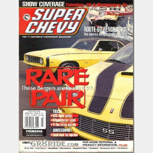 SUPER CHEVY March 2001 Magazine Rare Pair Riley Berger Camaros Whipplechargin Paul Collings 1972