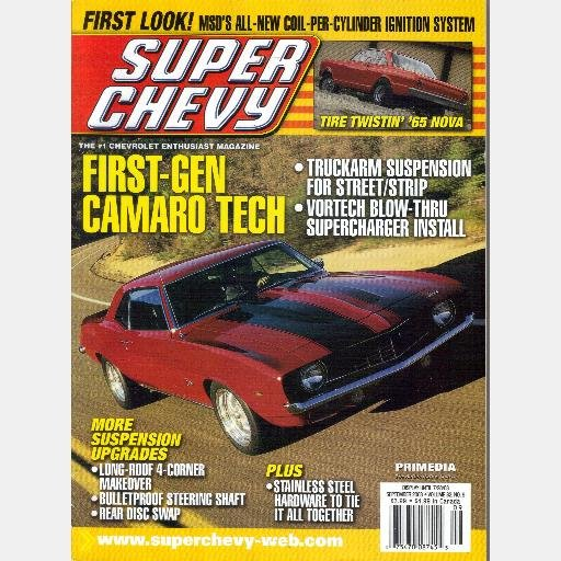 SUPER CHEVY September 2003 Magazine Long Roof 4 Corner Makeover VORTECH BLOW THRU SUPERCARGER