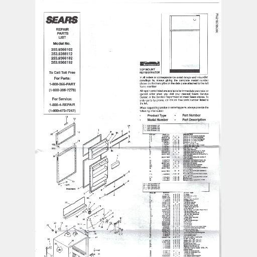 SEARS REFRIGERATOR Parts List Owners Guide 253.9366182 253.9366102 253.9366112 253.9366192