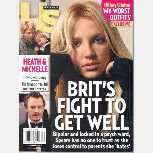US Weekly February 18 2008 Magazine 679 Britney Brit Fights Bipolar HEATH LEDGER MICHELLE