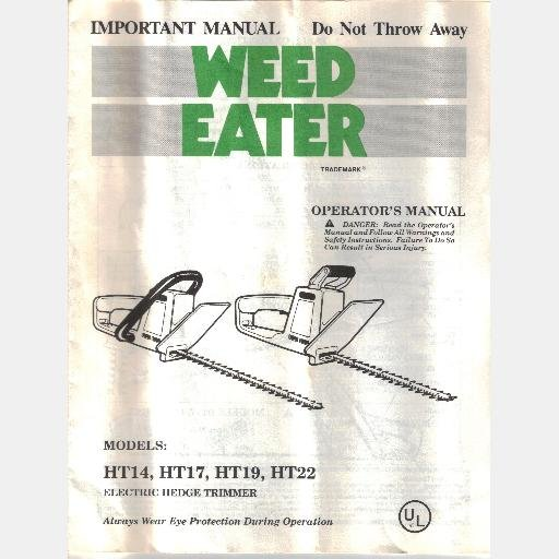 POULAN WEED EATER OPERATOR'S MANUAL Model HT14 MT17 HT19 HT22 Electric Hedge Trimmer 1991