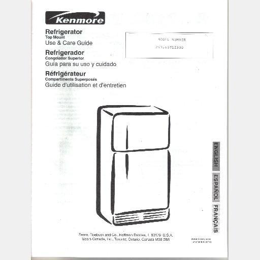 sears kenmore refrigerator model 253 63712300 parts list