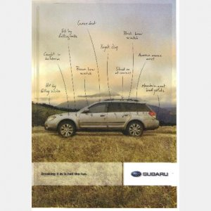 SUBARU 2010 AD Breaking it in is half the fun advertisement print