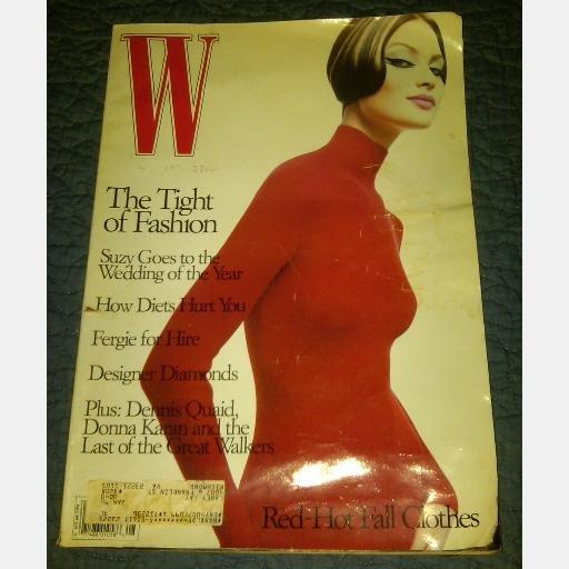 W August 1995 magazine SHALOM HARLOW Valentino red sweater dress DENNIS QUAID Donna Karan Fergie