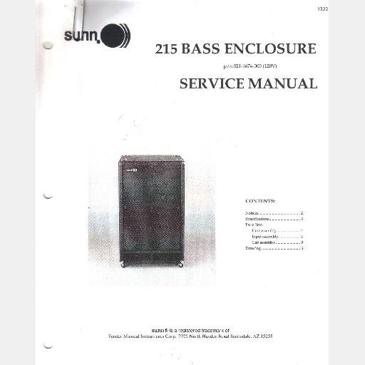 Fender SUNN 215 Bass Enclosure Service Manual 1998 021-1674-000