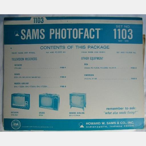 SAMS PHOTOFACT 1103 May 1970 WARDS AIRLINE  Hitachi CFA-550 Sears 5004 RCA Emerson
