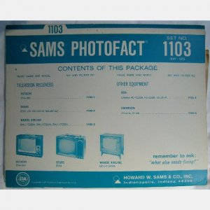 SAMS PHOTOFACT 1103 May 1970 WARDS AIRLINE  Hitachi CFA-550 Sears 5004 RCA Emerson