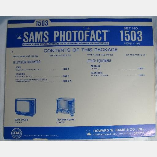 SAMS PHOTOFACT 1503 August 1975 Midland 11-365 Panasonic RC-6002 Sony SCC-63A Sylvania E11