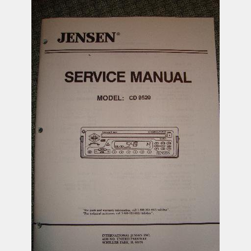 JENSEN CD 9520 CD9520 SERVICE MANUAL AM FM Radio Stereo Receiver CD player, 1993