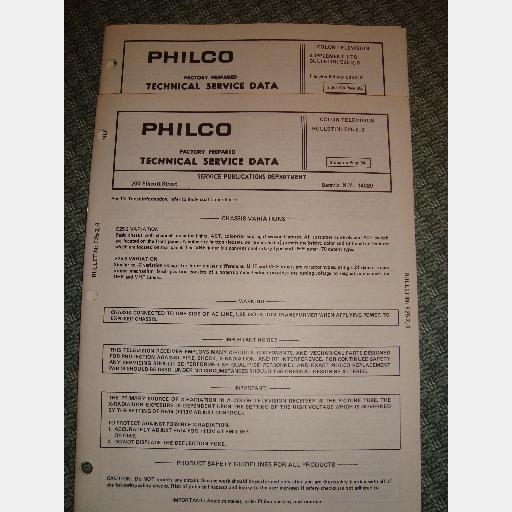 PHILCO E25 2 E25 3 Color Television TV Technical Service Manual Data Supplement