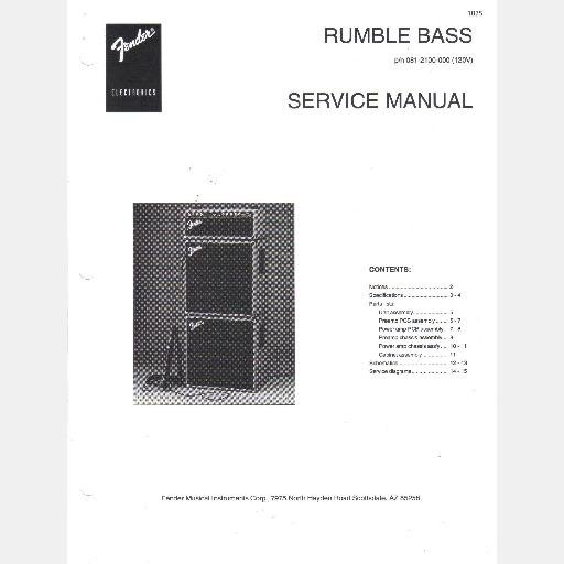FENDER RUMBLE BASS Amp Service Manual 081 2100 000 amplifier 1997