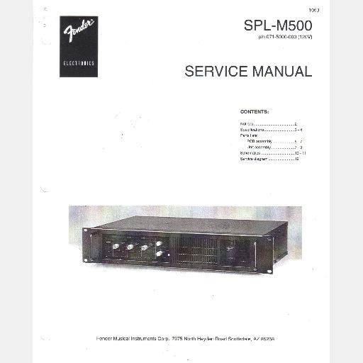 FENDER SPL M500 Stage Monitor Power Amplifier Service Manual Circuit schematic pn 071-5000-000 1997