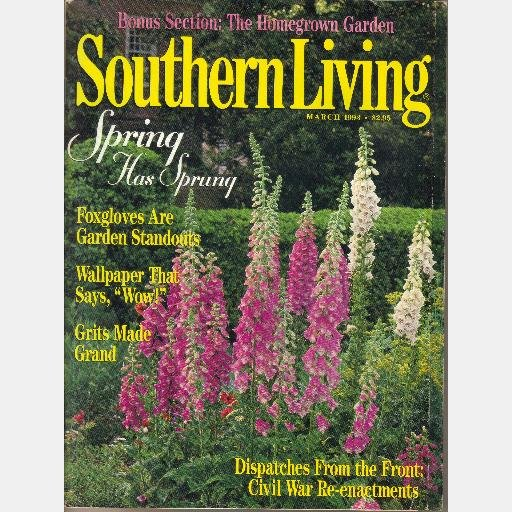 SOUTHERN LIVING March 1993 Vol 28 No 3 Foxgloves Civil War Reinactments Austin TX Cottage Cher Stone