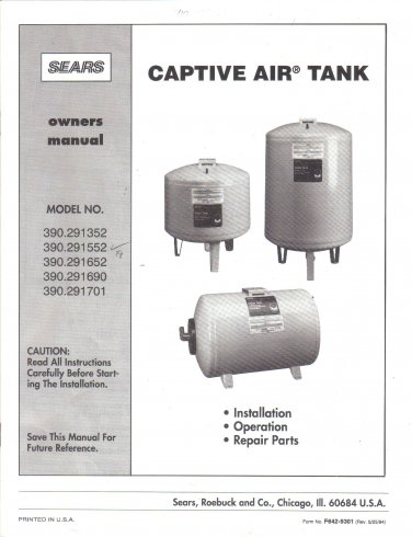 SEARS Captive Air Tank Owner's Manual Models 390.291352 390.291552 390.291652 390.291690 390.291701