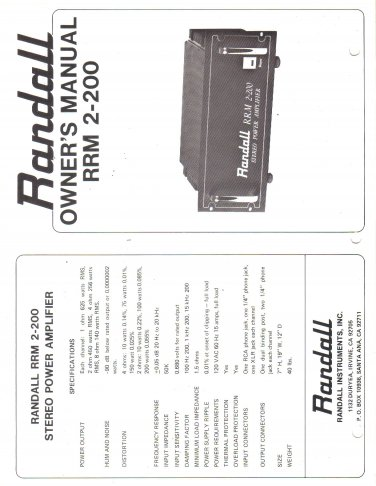 RANDALL INSTRUMENTS INC Owners Manual Schematic RRM 2 200 Amp Stereo Mono Pre Amp Amplifier