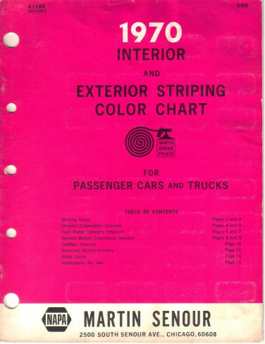1970 Interior Exterior Striping Color Chart Passenger Cars Trucks Ford AMC Cadillac GM Chrysler