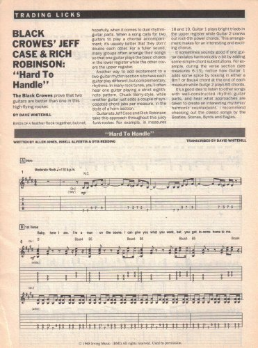 JEFF CASE RICH ROBINSON Black Crowes HARD TO HANDLE Sheet Music Transcription D Whitehill 1990