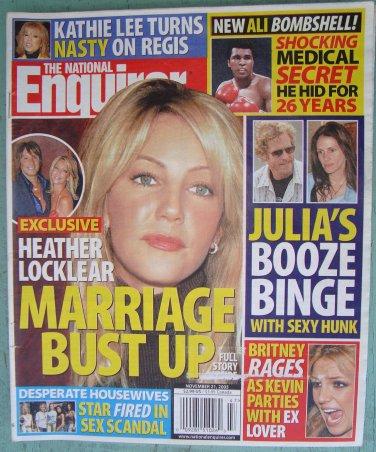 NATIONAL ENQUIRER November 21 2005 HEATHER LOCKLEAR MARRIAGE Julia Roberts Kathie Lee BRITNEY SPEARS