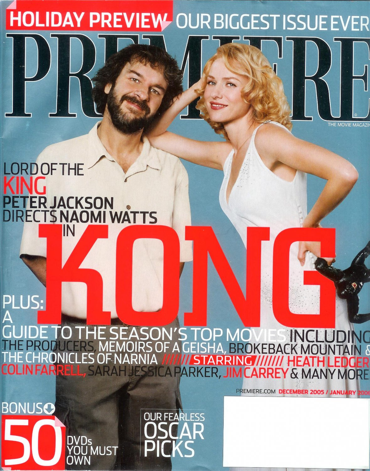 PREMIERE December 2005 January 2006 NAOMI WATTS KING KONG Heath Ledger SARAH JESSICA PARKER
