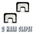 Hair Claw Clips (2) Art Deco Rounded Square Style Matte Silver & Black _1880