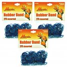 Hair Rubber Bands - Blue 3 packs of 275 pcs/pk for Braids Dreds PonyTails_144-08B