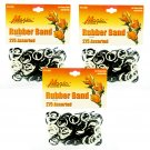 Hair Rubber Bands - Black & White 3 packs of 275 pcs/pk for Braids Dreds PonyTails_144-08BW