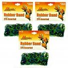 Hair Rubber Bands - Green Tones 3 packs of 275 pcs/pk for Braids Dreds PonyTails_144-08G