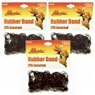 Hair Rubber Bands - Brown 3 packs of 275 pcs/pk for Braids Dreds PonyTails_144-08N