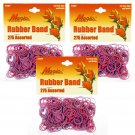 Hair Rubber Bands - Pink & Purple 3 packs of 275 pcs/pk for Braids Dreds PonyTails_144-08PP