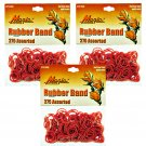 Hair Rubber Bands - Red 3 packs of 275 pcs/pk for Braids Dreds PonyTails_144-08R