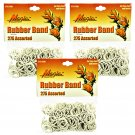 Hair Rubber Bands - White 3 packs of 275 pcs/pk for Braids Dreds PonyTails_144-08W