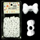 Hair Beads Bowtie Shaped White 100 ct for Hair Braids Dreds Jewelry Crafts _61-010W