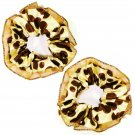 Satin Hair Scrunchies (2) Golden Champagne w/ Chocolate Brown Polka-Dot Print _09-1903