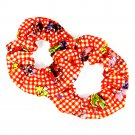 Hair Scrunchies (2) Large Red & White Gingham Print Ponytail Holders _09-1911