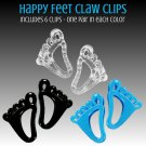 "Hair Claw Clips 6x Fun Feet Shaped 3.5"" Jaw Clamps in 3 Colors _144-07"