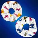 Hair Scrunchies Set of 2 Butterfly Print Ribbed Cotton Ponytail Holders _09-1910