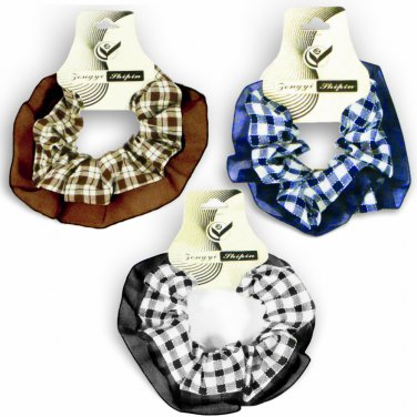 Hair Scrunchies Set of 3 Ponytail Holders Blue/Black/Brown Plaid Fabrics w/Chiffon Trim_09-1900