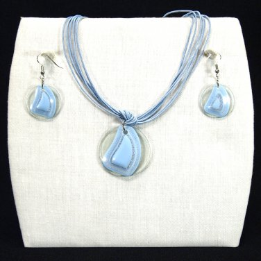 "3-pc Jewelry Set Necklace and Earrings with ""Fiji"" Design Pendants - Powder Blue _09-1926B"