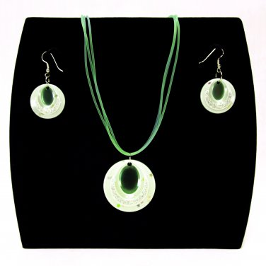 """3-pc Jewelry Set Necklace and Earrings with """"Ellipses"""" Design Pendants - Green _09-1925G"""