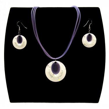 "3-pc Jewelry Set Necklace and Earrings with ""Ellipses"" Design Pendants - Lilac _09-1925L"